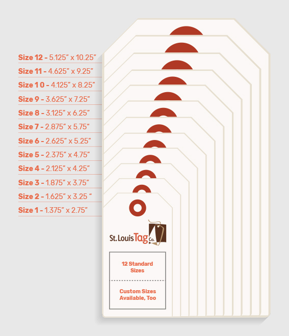 standard sizes for custom printed hang tags st louis tag