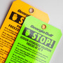 Laminated Stop Hang Tags