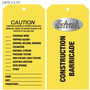 Caution Construction Barricade Hang Tag