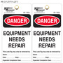 Kimball Danger Equipment Repair Needed Tag