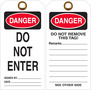 Danger Do Not Enter Tyvek Hang Tag with clipped Corners