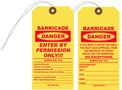 Yellow Tyvek Barricade Hang Tag with Clipped Corners