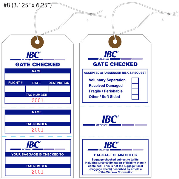 Custom printed airline hang tags st louis tag for Airline luggage tag template