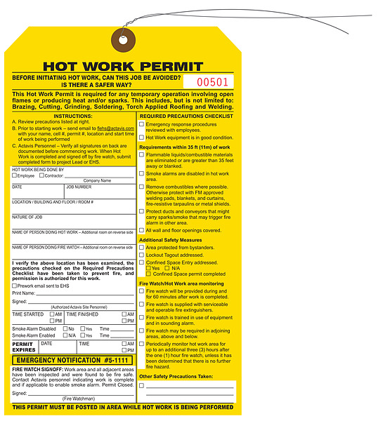 Custom printed hot work permit hang tags st louis tag for Hot work permit template free