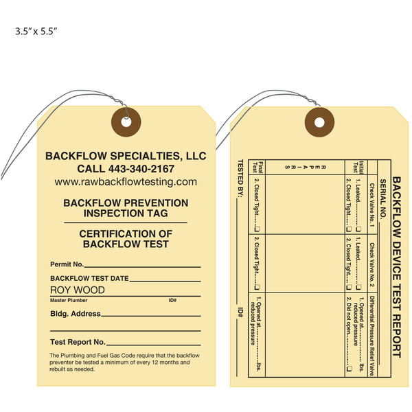 Custom Printed Backflow Preventer Test Tags St Louis Tag