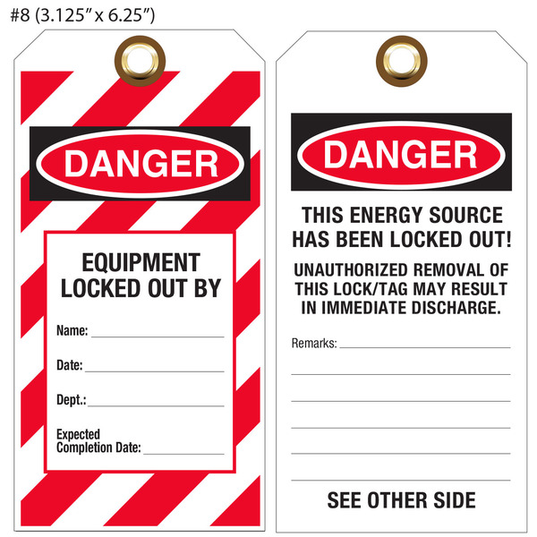 custom printed lockout tagout osha hang tags st louis tag. Black Bedroom Furniture Sets. Home Design Ideas