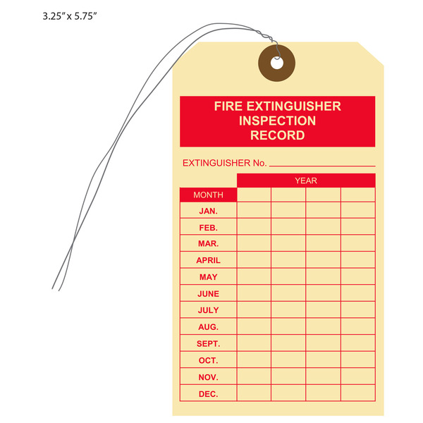 graphic relating to Printable Fire Extinguisher Inspection Tags identified as Customized Posted Fireplace Extinguisher Cling Tags St. Louis Tag
