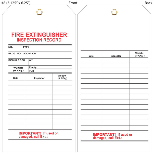 Fire extinguisher annual inspection form pictures to pin for Fire extinguisher inspection tag template