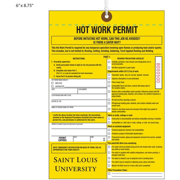St Louis U Hot Work Permit Tag