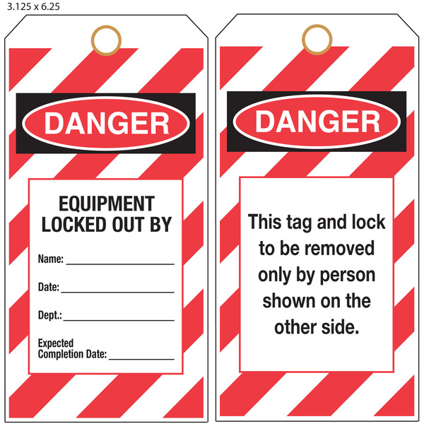 Custom Printed Lockout Tagout OSHA Hang Tags St Louis Tag - Lock out tag out procedures template