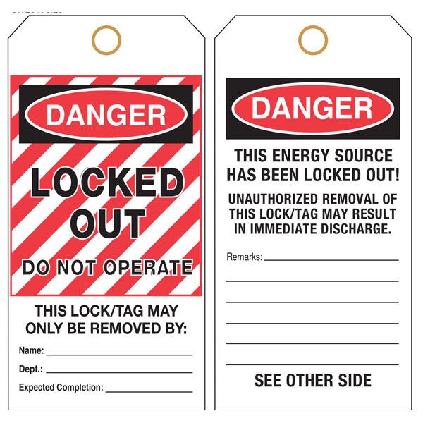 custom printed hang tag lockout danger