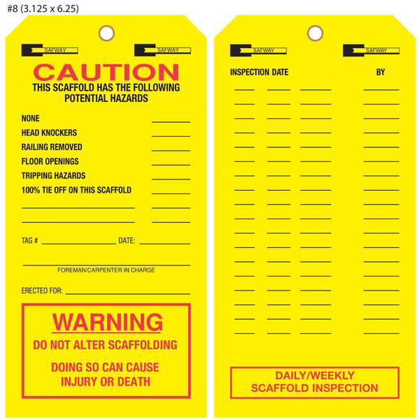 Custom Printed Scaffold Inspection Hang Tags St Louis Tag
